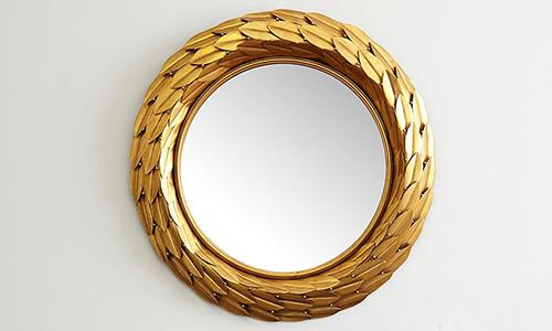 Global Brown Bronze Laurel Berry Leaf Round Wall Mirror